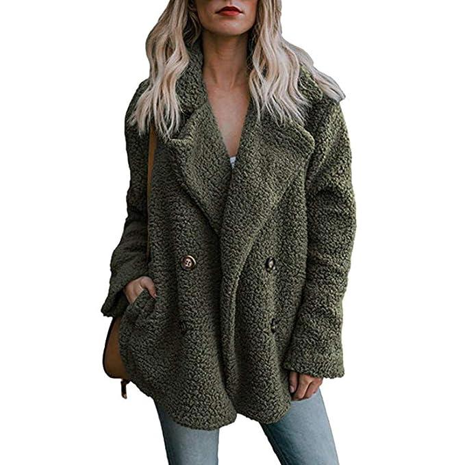 Women Winter Warm Coat,Vanvler Ladies Lapel Parka Outwear Open Front Jacket Pockets (S