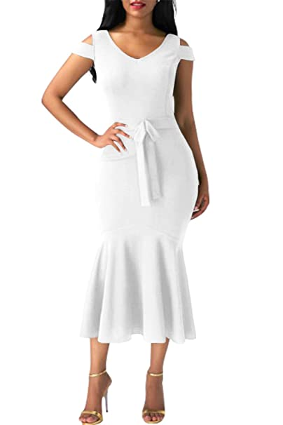 Z-one Women Sexy Short Sleeve Package Hip Fishtail Evening Dress: Amazon.co.uk: Clothing