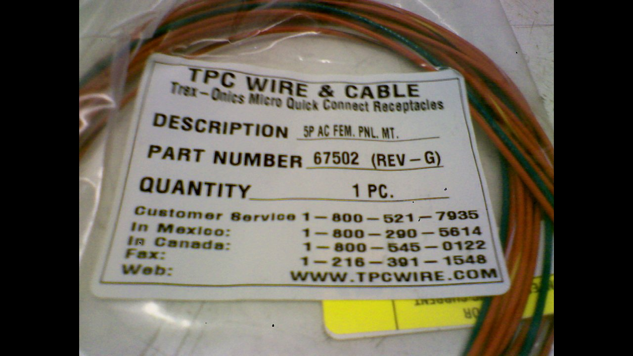Tpc Wire & Cable 67502 5 Pole Ac Female Panel Mount 67502: Amazon ...