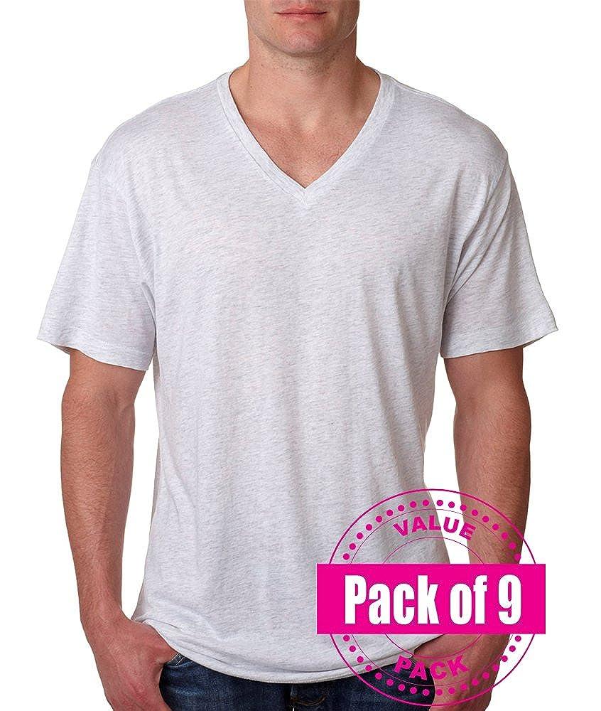 9 Pack Next Level Mens Tri-Blend V-Neck 6040-Heather White