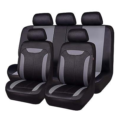CAR PASS Montclair 11PCS Universal Fit Leather Seat Covers,fit for suvs,Trucks,sedans,Cars,Vehicles,Vans,Airbag Compatible (Dark Gary): Automotive