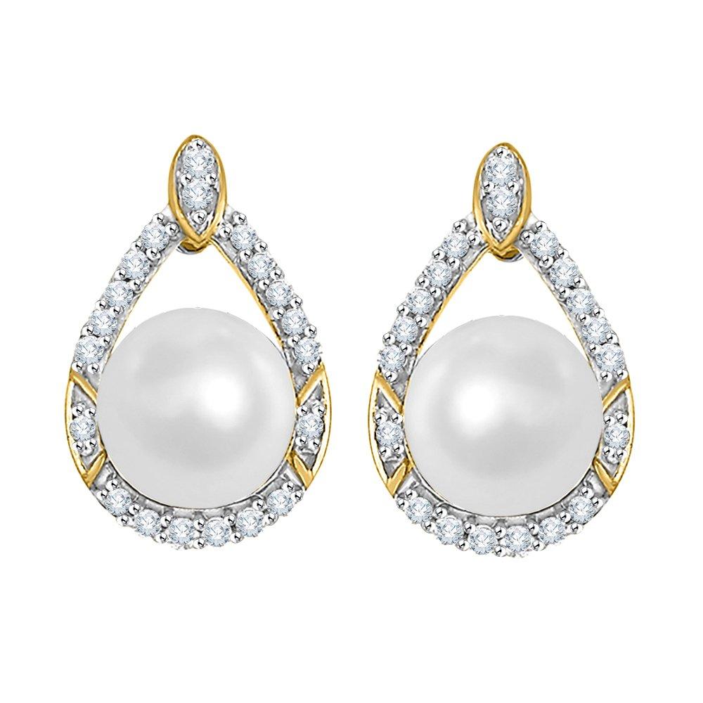 ダイヤモンドwithパールファッションイヤリングゴールドまたはスターリングシルバー( 3 1 / 4 cttw ) ( color-gh、clarity-i2-i3 ) B076H3TGHK