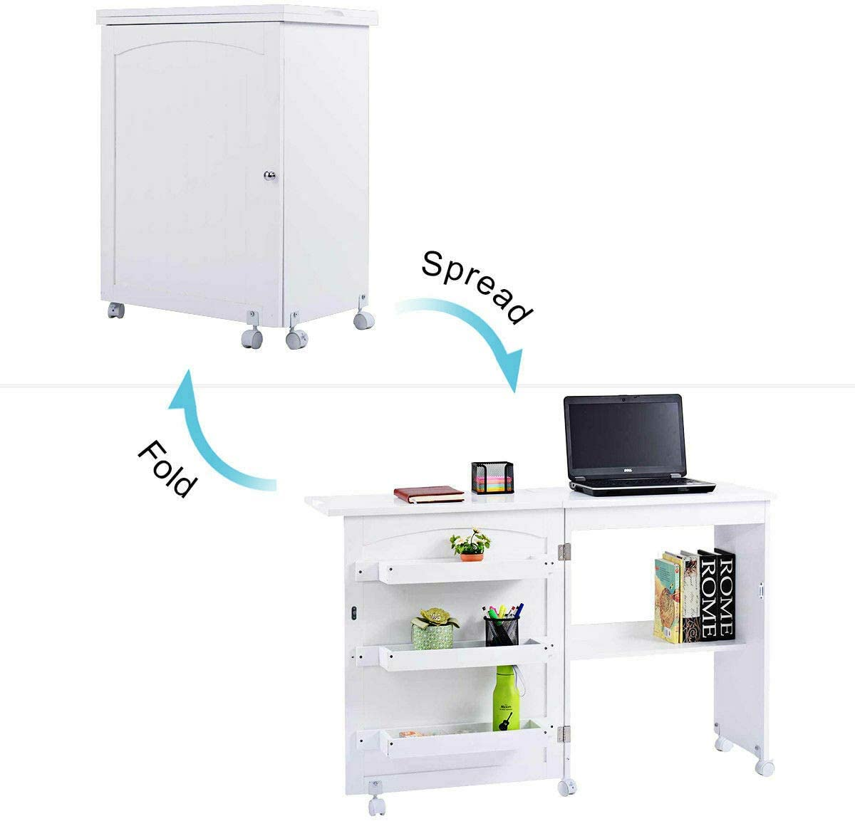 White Foldable Sewing Table Cabinet 3 Storage Bins for Placing Sewing Tools Extra Storage Shelf for Sewing Machine Multifunctional Design Can Be Used As Computer Desk Laptop Notebook Table