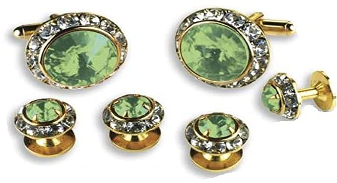 Light Green Stone Center Austrian Crystal Tuxedo Studs And Cufflinks Gold  Trim