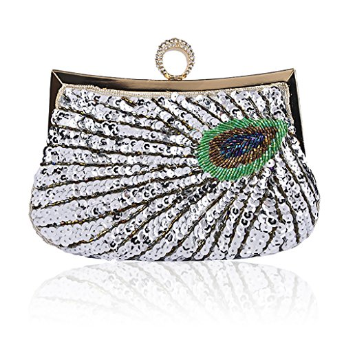 QJAIQQ Bag Lady Silver Beaded Shoulder Pink Handmade Evening Package Clutch Crossbody Peacock Bags Single ArfUA