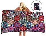 Uideazone Mandala Microfiber Beach Towel for Travel - 60 x 30 Inch
