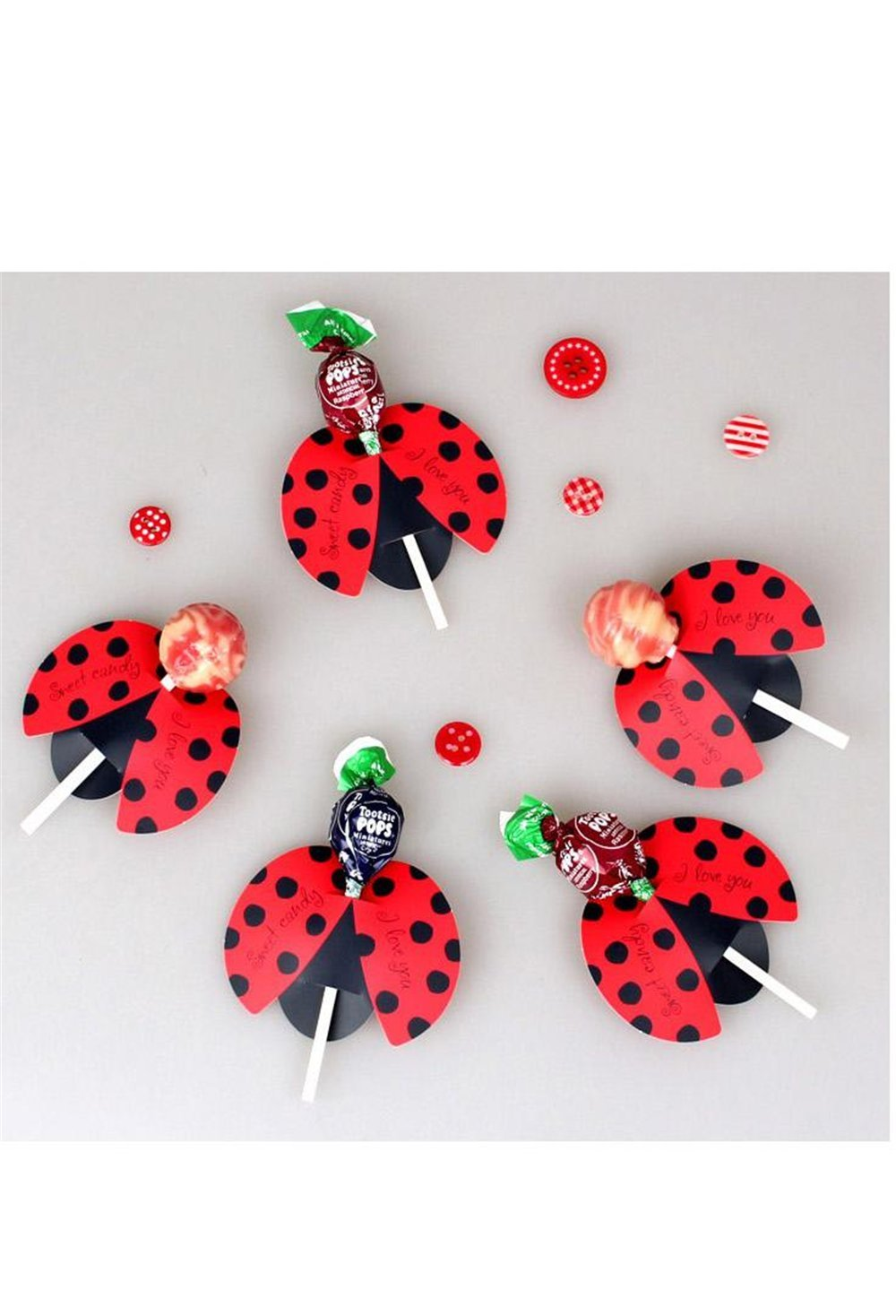 50pcs Candy Lollipop Decoration Gift Cute Insect Bees Ladybug Butterfly Card Birthday Party For Kids Wedding Decor (Ladybird)