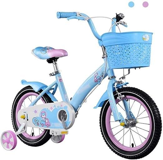 DYFYMXBicicleta niño Bicicleta de Pedal Princesa Estudiante Bicicleta niño Bicicleta 14/16/18 niños Bicicleta con Rueda de Entrenamiento y Canasta Ejercicio Seguro para niños y niñas. (Size : A): Amazon.es: Hogar