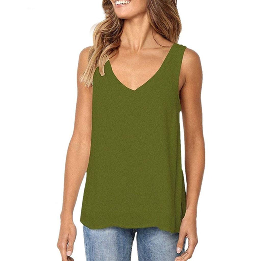 Women Basic Tank Top,Fineser Womens Ladies Sleeveless V Neck Solid Classic Tank Top Casual Loose Fit Tunic Tank Tops