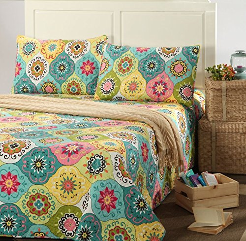 Multi Spring Flower Reversible Bedspread Quilt Set