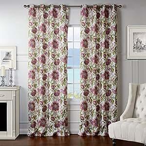 Amazon.com: IYUEGO Dreamlike Light Pink Floral Grommet Top ...