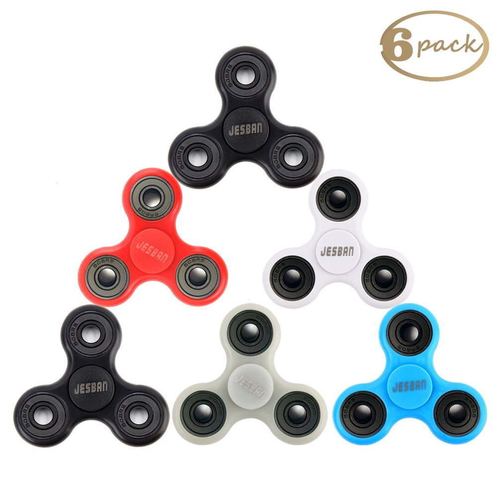 JESBAN 6 Pack Fidget Spinner Hands EDC Toy Stress Reducer Finger Spinner Fidget for Adults Kids or ADHD, ADD, Focus, Boredom, Killing Time (Set 1)
