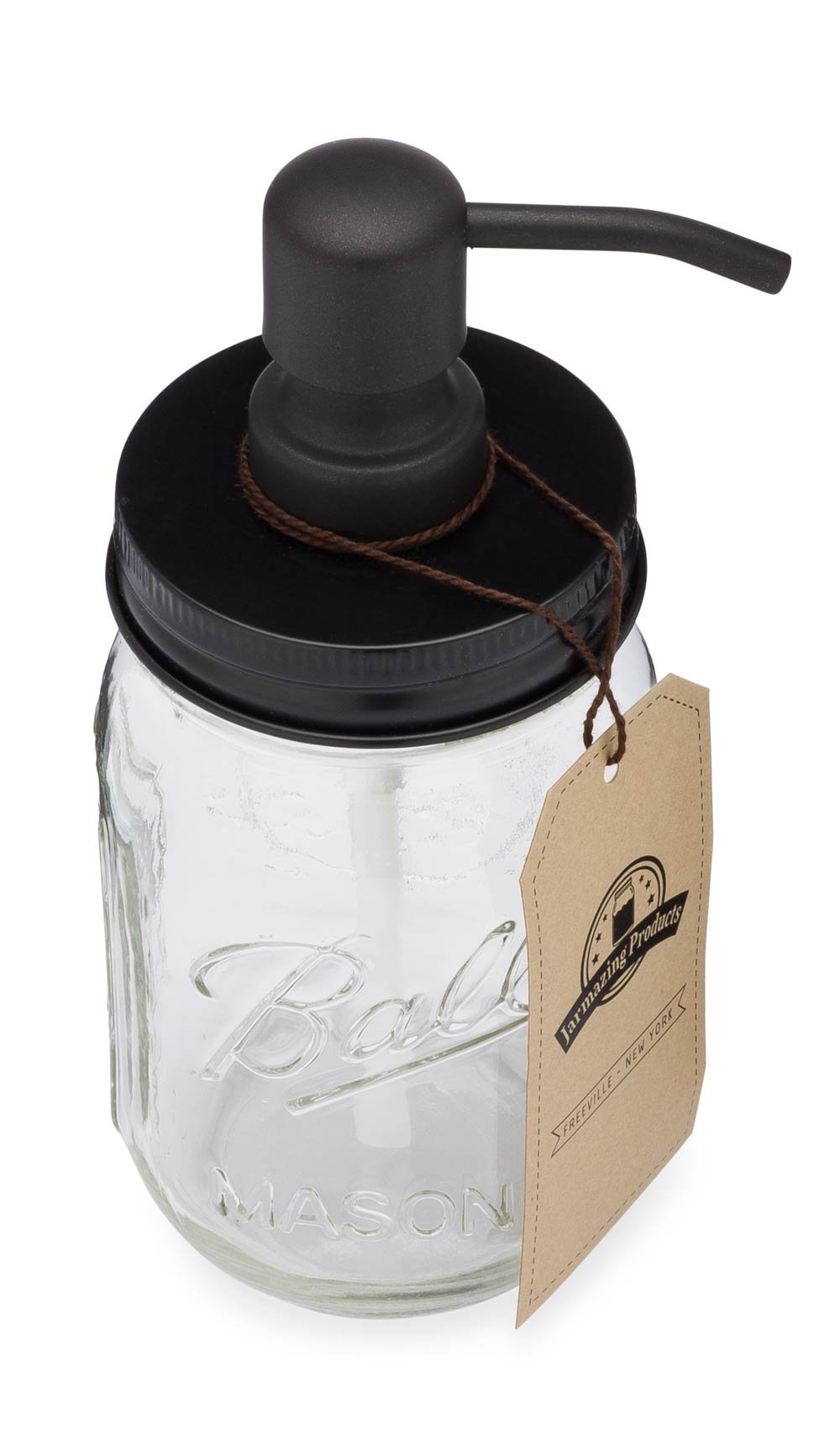Jarmazing Products Mason Jar Soap Dispenser - Black - With 16 Ounce Ball Mason Jar - Made from Rust Proof Stainless Steel by Jarmazing Products (Image #2)