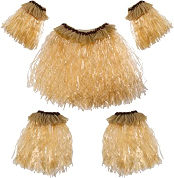 Amosfun 5pcs Hawaii Tropical Hula Grass Dance Skirt Set Bandas ...