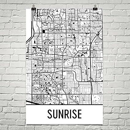 Map Of Sunrise Florida.Amazon Com Sunrise Map Sunrise Art Sunrise Print Sunrise Fl