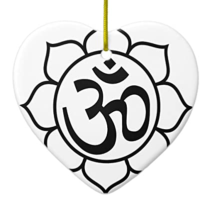 Amazon zazzle lotus flower om symbol ceramic ornament heart zazzle lotus flower om symbol ceramic ornament heart mightylinksfo