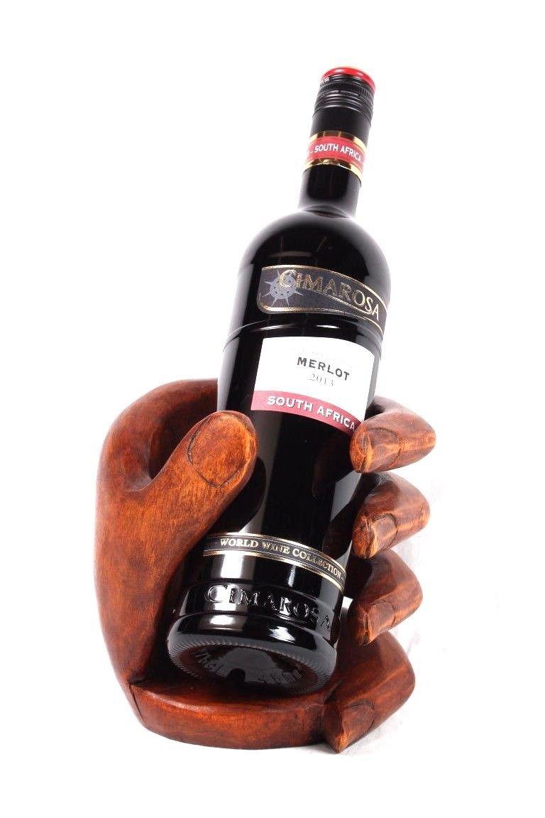 Weinflaschenhalter Buddha Faust aus Suar Holz Handarbeit Wein Halter Geschenk Wohnkult