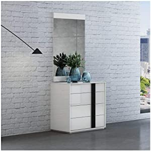 Whiteline Modern Living Kimberly Dresser in High Gloss 4 Self-Close Drawers and Matte Handle, Small, White/Black