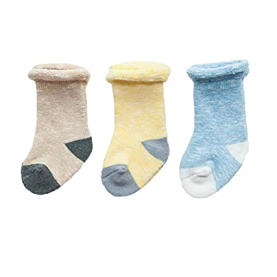 3 Pairs Baby Boys Winter Warm Socks Thick Anckle Socks Set