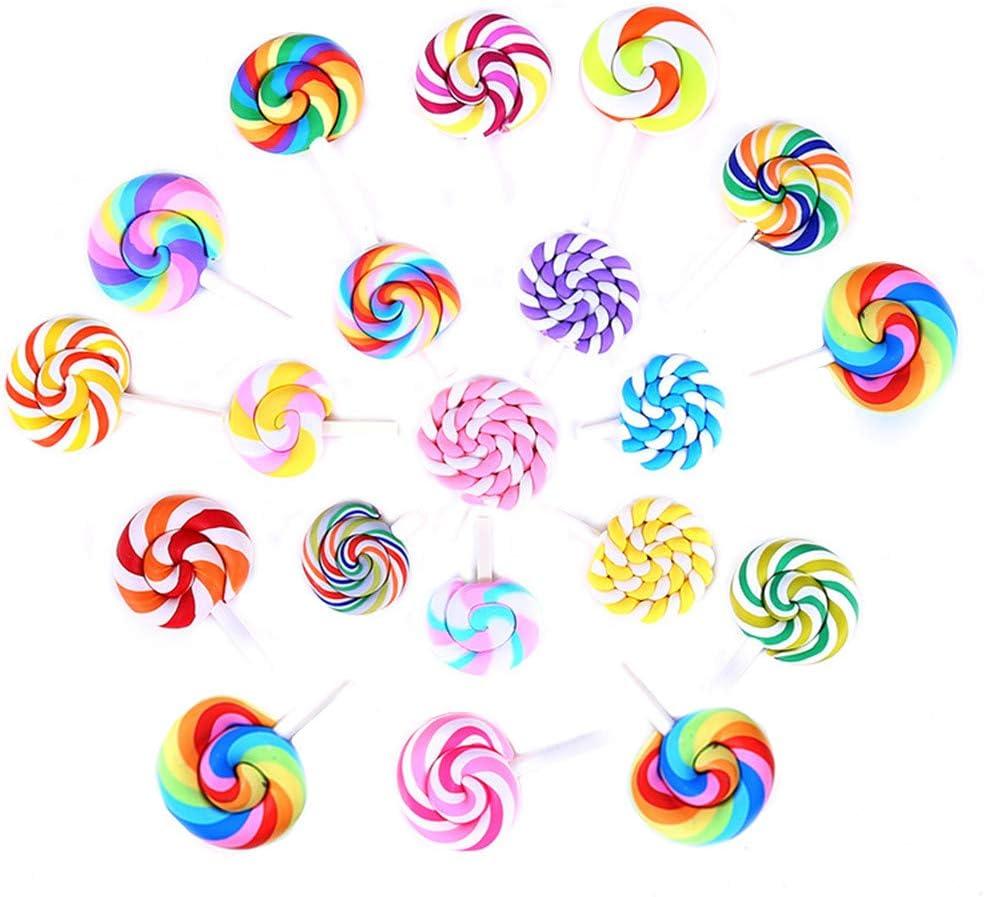 20 Pack Assorted Kawaii Rainbow Slime Charms Clouds Lollipop Hot Balloon Cabochons Resin Flatback Beads for Miniature Fairy Garden Accessories Scrapbooking Home Decor Supplies (Lollipop)