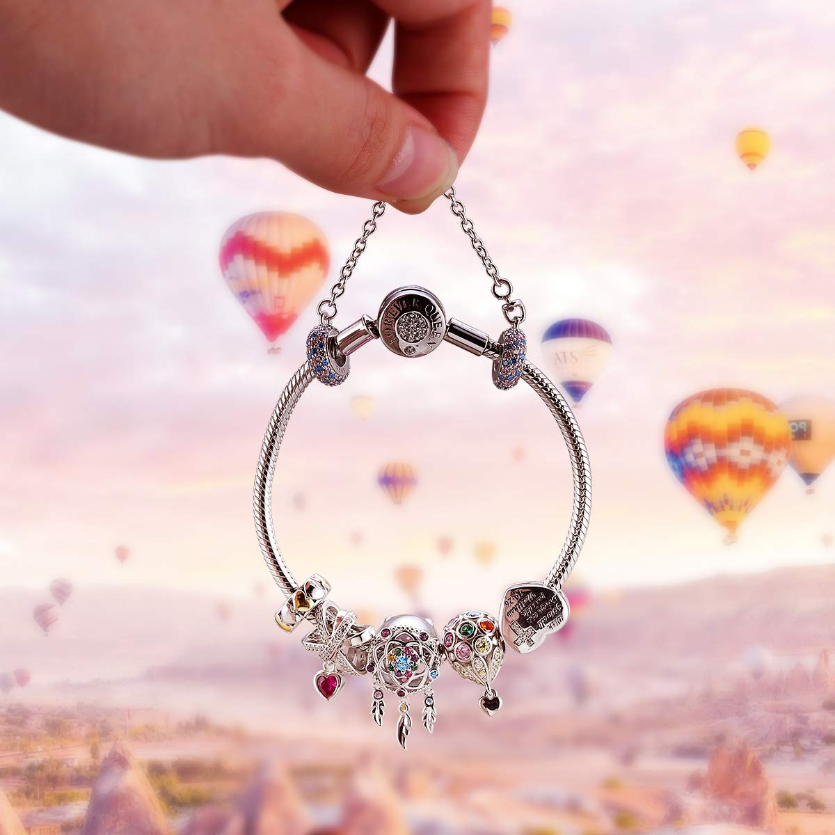 FOREVER QUEEN Charm Bracelet Fit Pandora Charms 925 Sterling Silver Basic Snake Chain Bracelet for Women Girls, Signature Bracelet with Sparkling Round Clasp Charm Clear CZ FQ00016 by FOREVER QUEEN (Image #6)