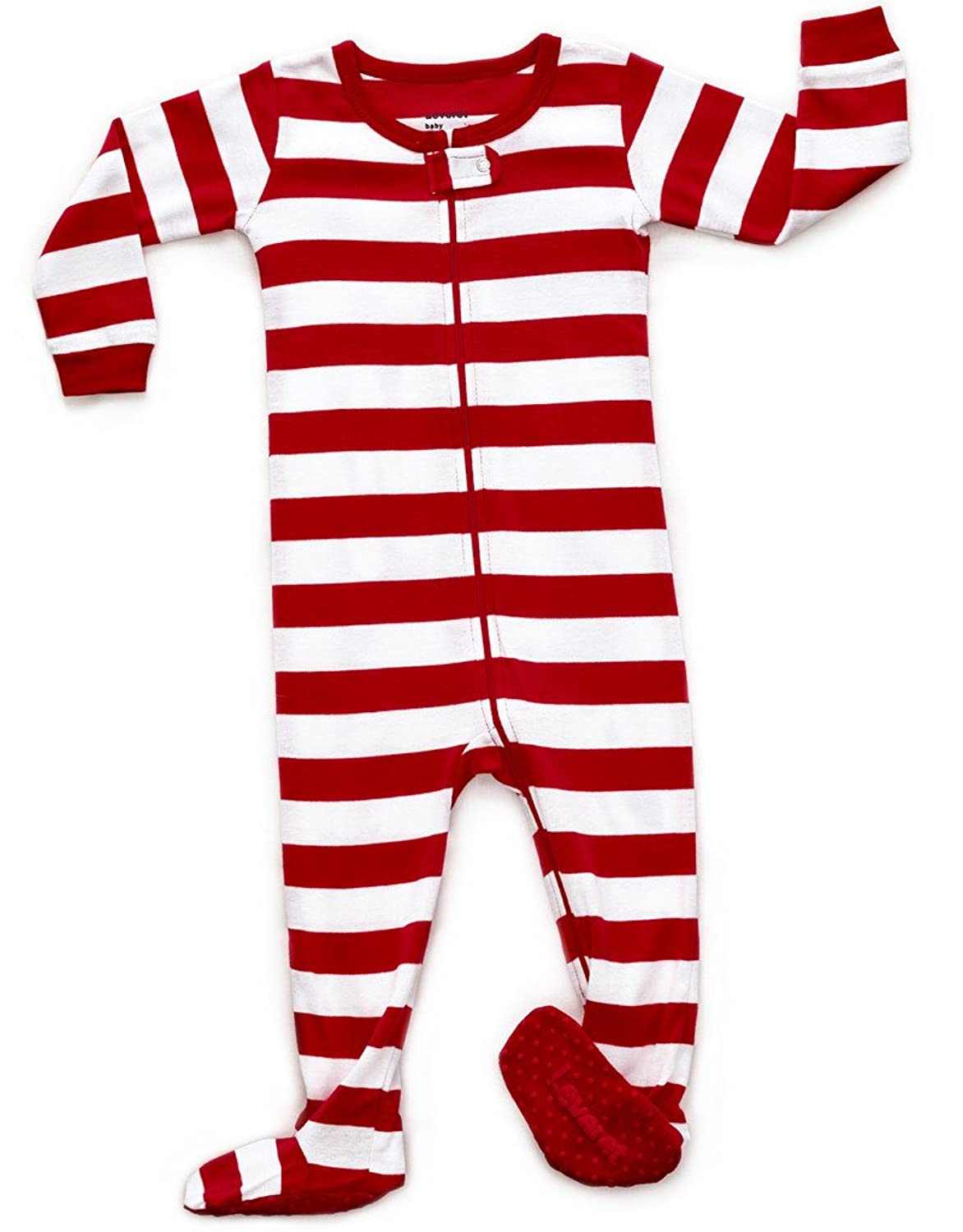 4ecc326bc4a4 Leveret Baby Boys Girls Christmas Striped Footed Pajama Sleeper 100 ...