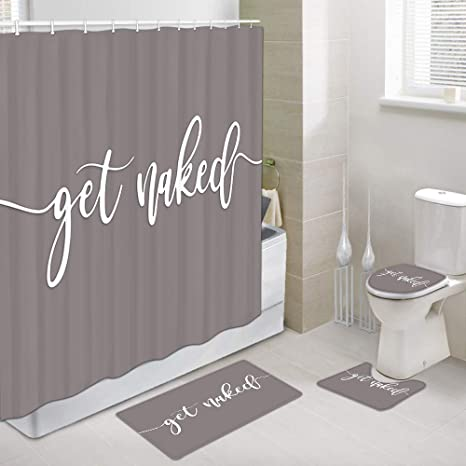 Amazon Com Jawo Get Naked Bathroom Sets With Shower Curtain And Rugs And Accessories Gray Fashion Modern Funny Fashionable 4 Pcs Set Polyester Fabric Bath Curtain Bath Rug Toilet Mat