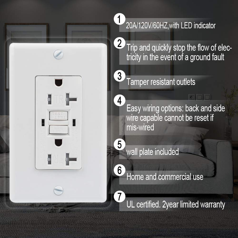 Gukibo Gfci Outlet Tamper Resistant Receptacle With 2 Led Indicators Wiring Ground Fault 20a Self Test Circuit Interrupter Auto