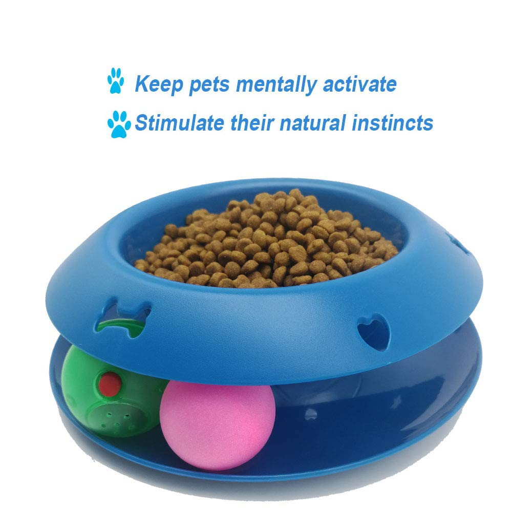 Redmogo, Slow Feeder Pet Bowl Fun Interactive Scratcher Cat Dog Bowl Tower of Track IQ Treat Ball Toy Stop Bloat Slow Food Bowl Feed Bowl by Redmogo