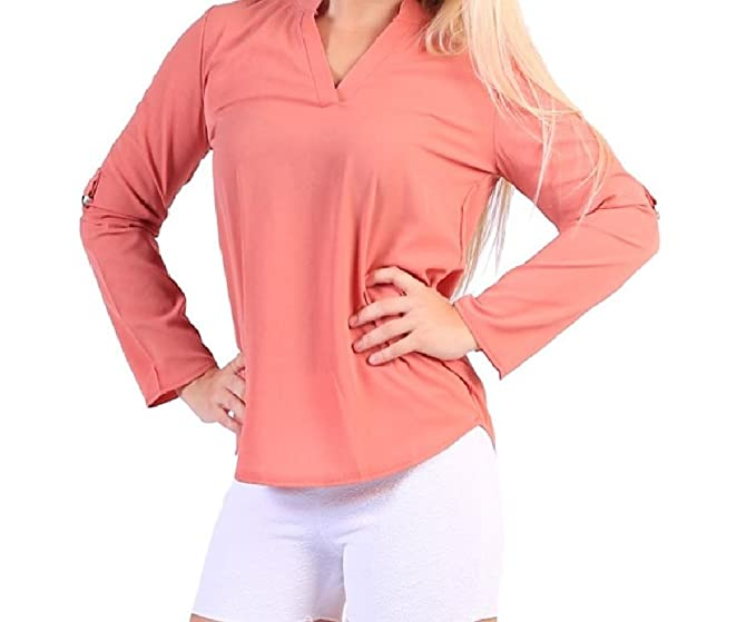 Freely Womens Solid Long Sleeve Chiffon Plus Size Blouses Ladies