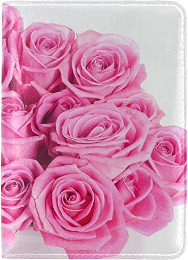 Roses Bouquet Flowers Leather Passport Holder Cover Case Travel One Pocket