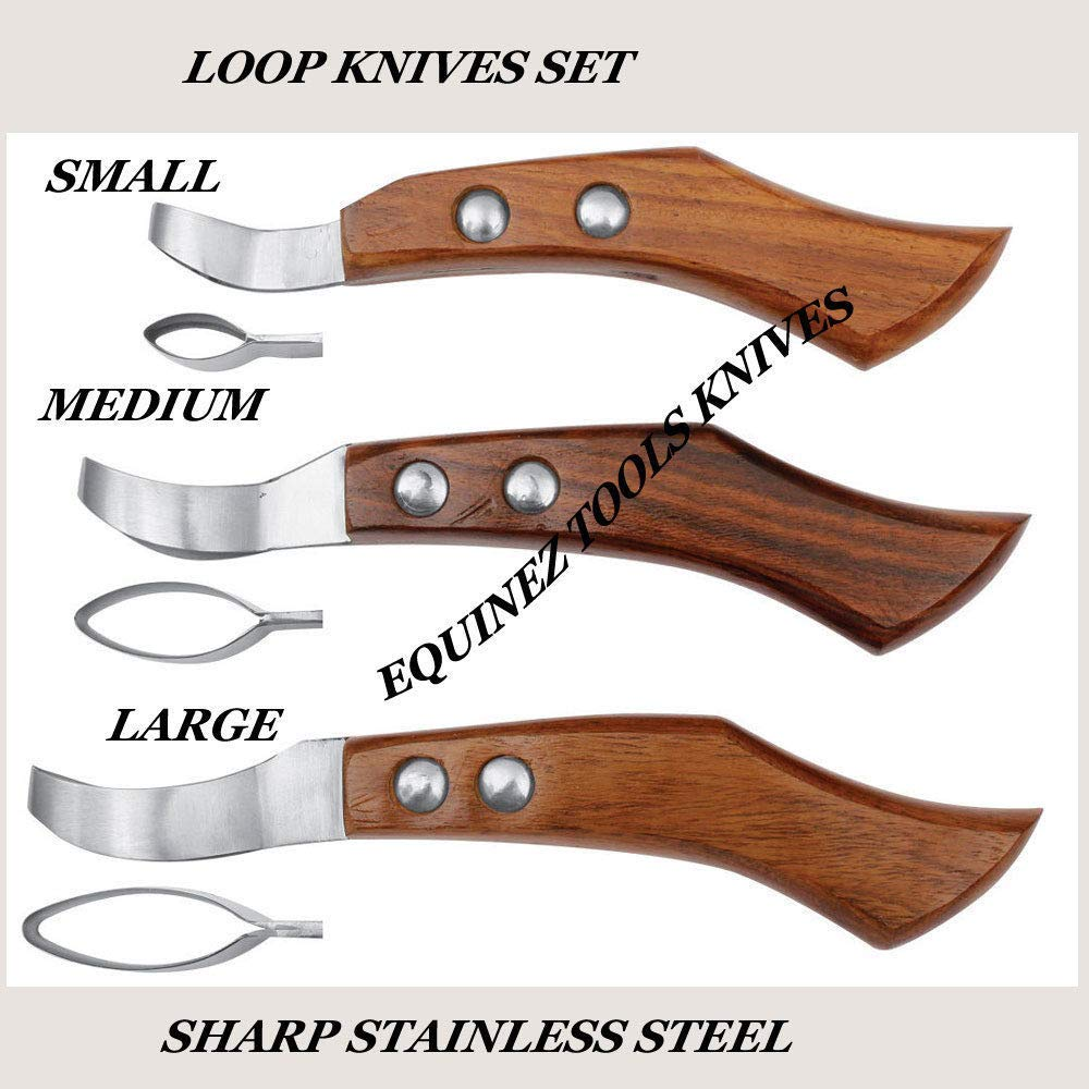 Equinez Tools Farrier Loop Knives Hoof Knife Various Sizes Farrier Tool Single OR Set Options by Equinez Tools