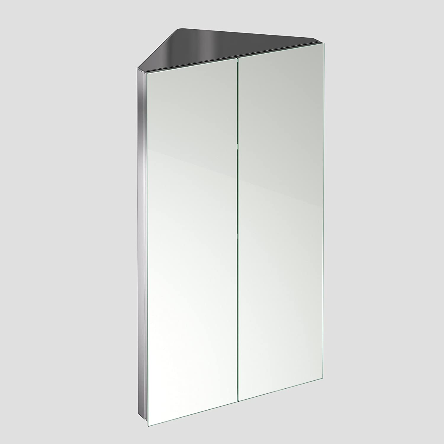 780 x 450 Stainless Steel Corner Bathroom Mirror Cabinet Modern 2 ...
