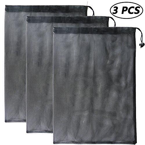 Bignc 3 Pack Mesh Stuff Sack with Cord Lock Closure, Durable Lightweight Nylon Mesh Storage Ditty Bag, Laundry Bag, Golf Ball Bag