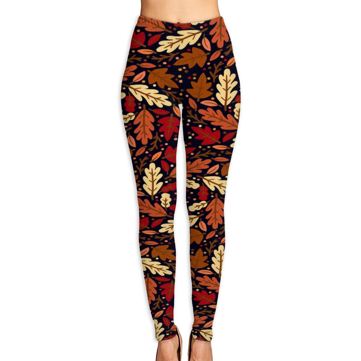 Womens Yoga Pants Fall Autumn Leaves Fitness Power Flex ...