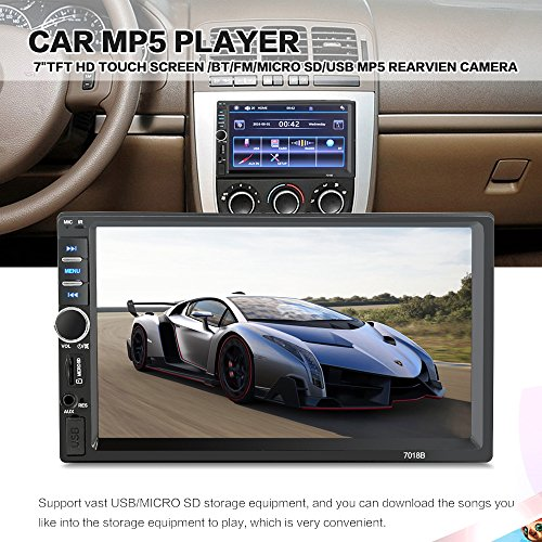 Mirror Link 7 inch 2 Din Capacitive Touch Screen Car Stereo in-Dash Bluetooth Car Radio Player with Rear-View Camera,Video MP5 Player, Radio FM