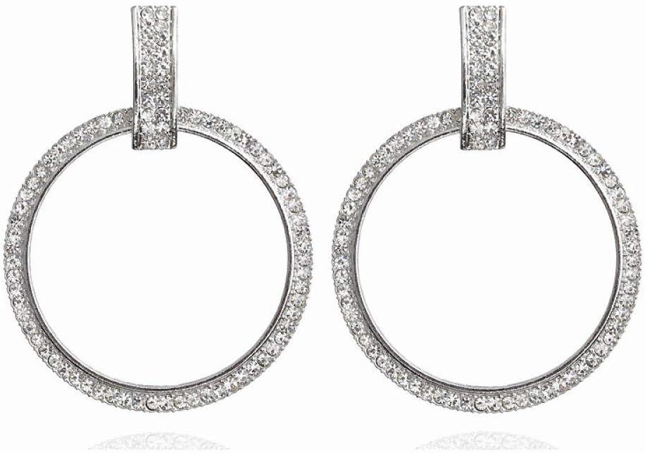 Erin Pendientes De Anillo De Diamantes De Imitación Completos De Moda Pendientes Clásicos De Gran Círculo Pendientes De Plata De Oro Y Cristal para Mujer 1E1065