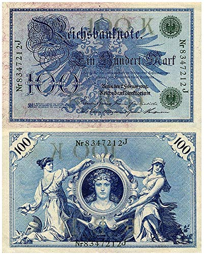 1908 DE GEM CRISP AU-CU GERMAN EMPIRE 1908 100 MARKS w 3 FEMALES, BLUE EAGLE! RARE SO CRISP! 100 Marks GEM CRISP ABOUT UNCIRCULATED ()