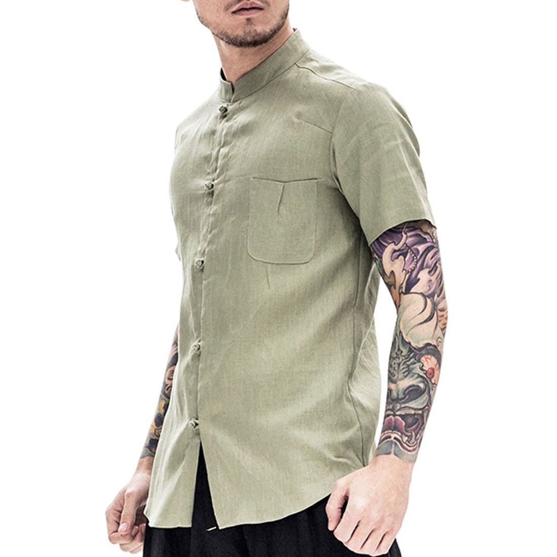 Kung Fu Smith Men's Short Sleeves Summer Pocket Blouse Shirt (XL, Green)
