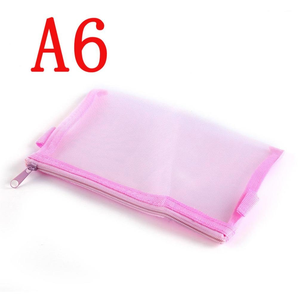 LiPing Clear Pen Pocket Protector Storage Holder Bag Pen Cases Simple Mesh Zipper Stationery Bag For Student School (A6, Pink)