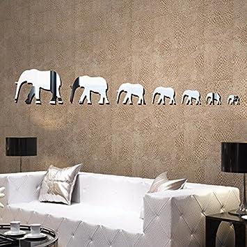 Kuamai Elefant Spiegel 3D Wand Wohnzimmer Schlafzimmer Kinderzimmer Schrank  Aufkleber Dekoration Wandaufkleber