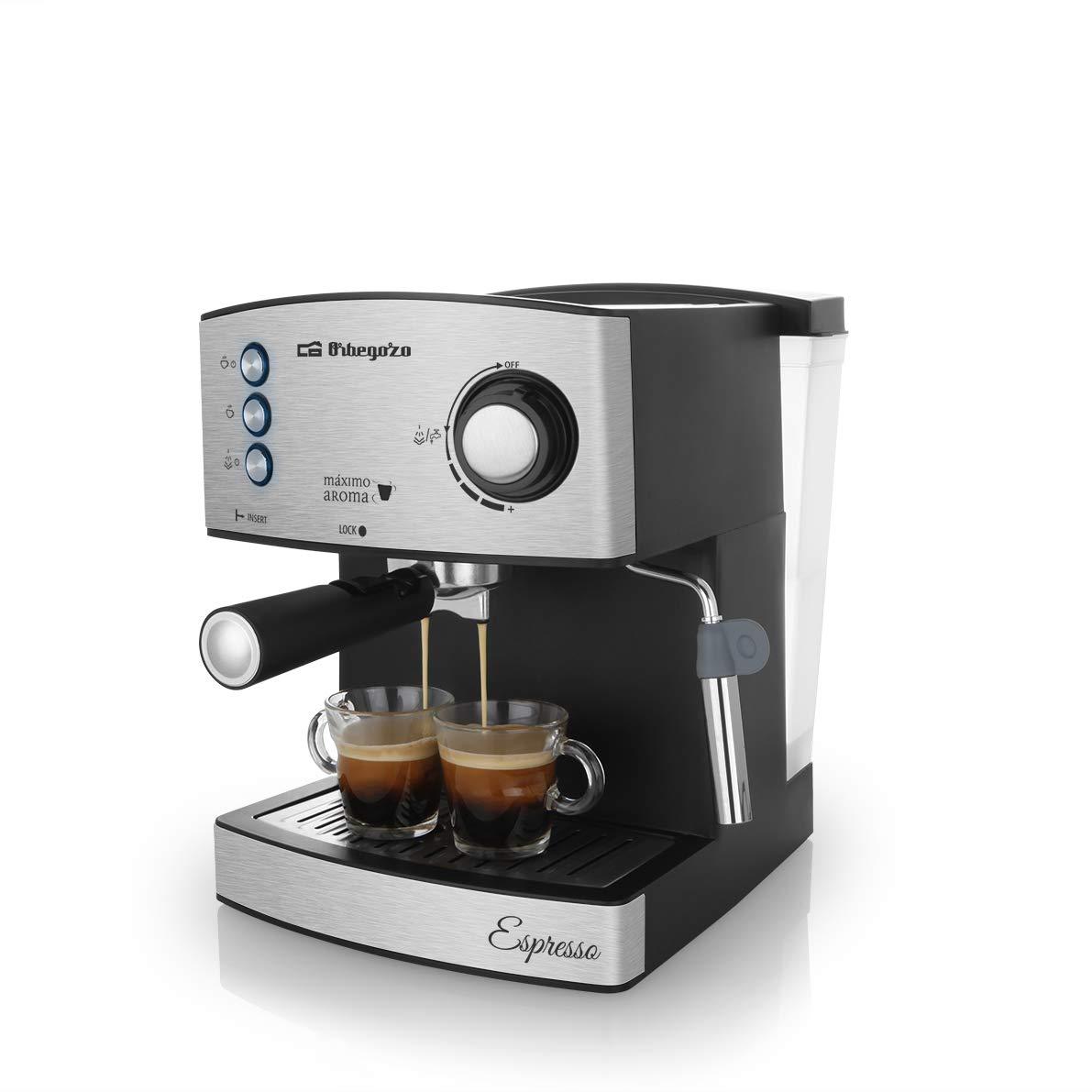 Orbegozo EX 3050 Cafetera Espresso con Bomba Italiana de 20 Bares de presión, Frontal de Acero Inoxidable, 850 W, Negro Mate