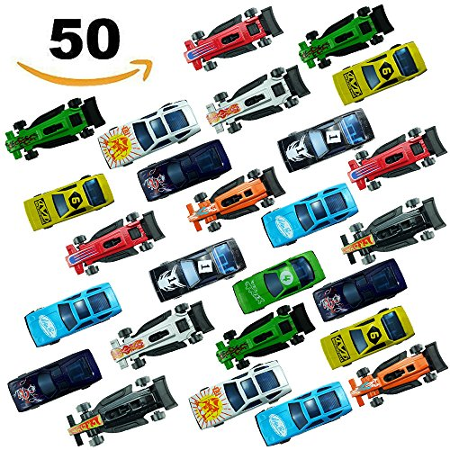 Diecast Metal Toy Car (Yexpress 50 Die Cast Metal Plastic Toy Cars Race Car Toys for Kids Boys or Girls, Fun Gift, Party Favors or Cake Toppers)