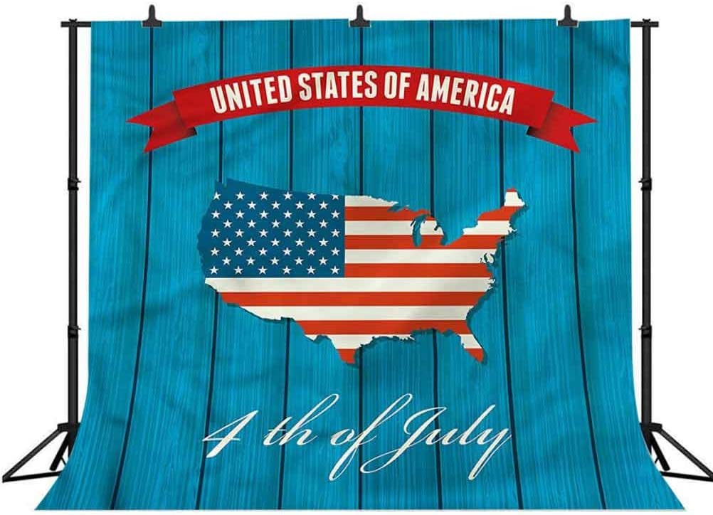 6x6FT Vinyl Backdrop Photographer,USA Map,United States of America Background for Party Home Decor Outdoorsy Theme Shoot Props