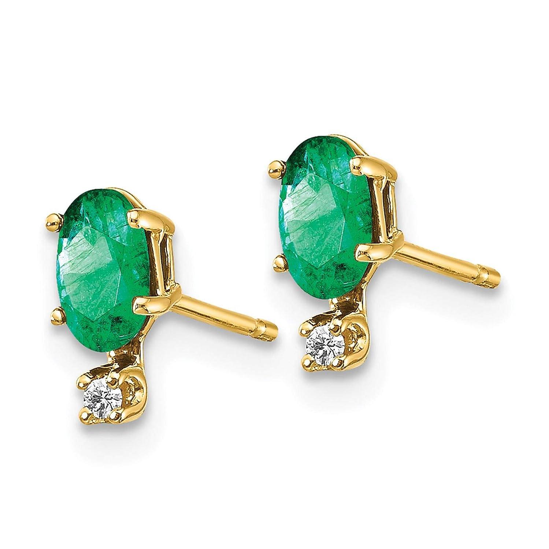 14K Yellow Gold Emerald May Stone /& Diamond Post Earrings