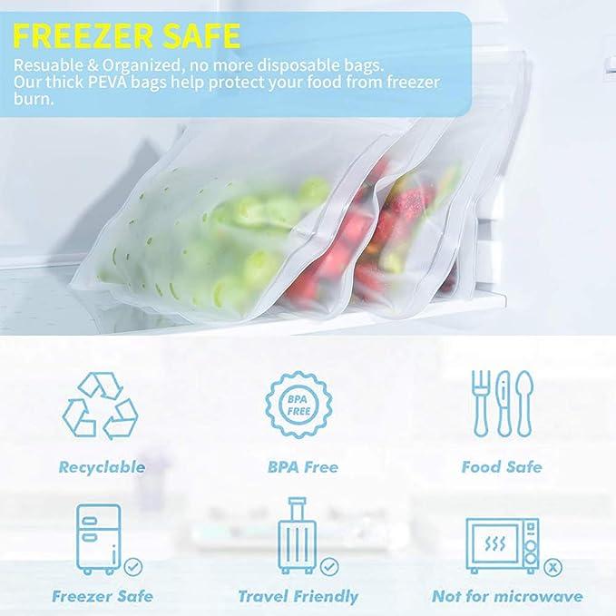 Amazon.com: Bolsas de almacenamiento reutilizables, 5 ...