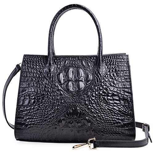 PIJUSHI Women Handbags Top Handle Satchel Leather Tote Bags for Ladies 8890(One Size, Black Croco) by PIJUSHI
