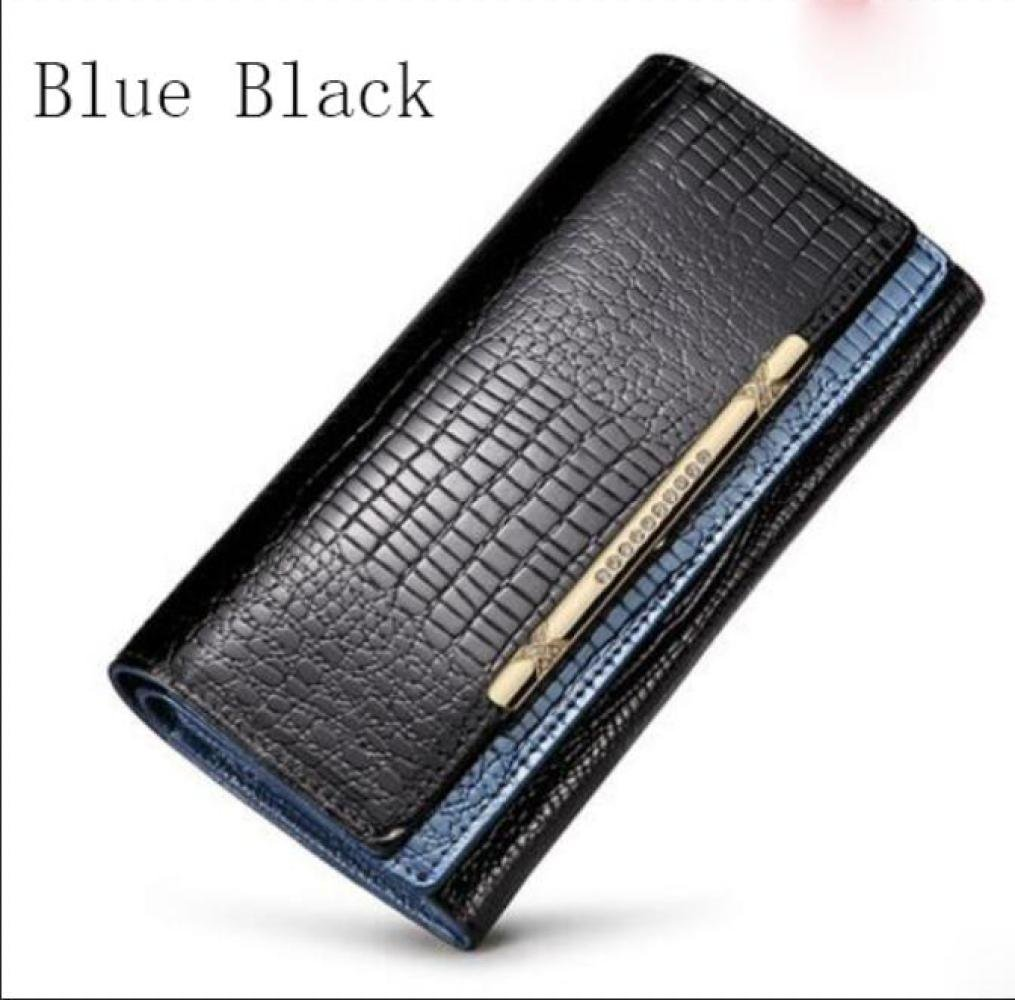 bluee Black Ms. LargeCapacity Long Storage Purse Double hit color Holding 3 fold Wallet SLR