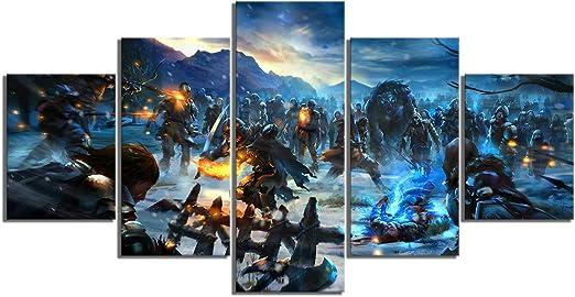 LHSRKL Cuadro de 5 Piezas, HD Fantasia, Arte de Imagen, Lienzo, Pintura de una canción de Hielo y Fuego: Amazon.es: Juguetes y juegos