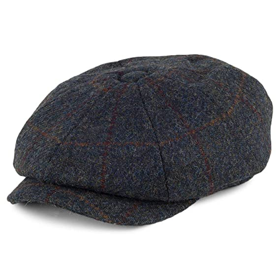 78fd9a84985 Failsworth Hats Carloway Harris Tweed Windowpane Newsboy Cap - Blue-Multi 55